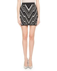 Balmain Chevron-Knit Fitted Mini Skirt