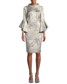 Badgley Mischka Collection Funnel-Neck Flutter-Sle