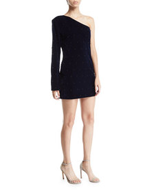 RtA Edie Velvet One-Shoulder Embellished Dress