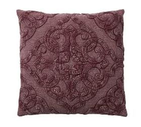 Drew Embroidered Pillow Cover - Fig