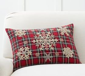 Embellished Snowflake Plaid Lumbar Pillow Cover