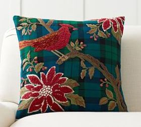 Cardinal Embroidered Plaid Pillow Cover