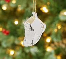 Silver-Plated Baby's First Christmas Boot Ornament