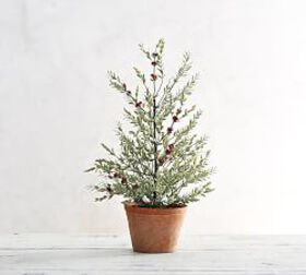 Faux Potted Berry Branch Sage Topiary