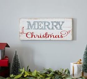 Galvanized Metal & Wood Merry Christmas Sign
