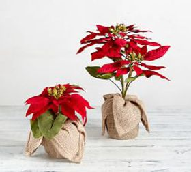 Faux Potted Red Poinsettia