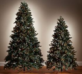 Lit Faux Blue Spruce Christmas Trees
