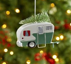 Tin Camper with Tree Ornament