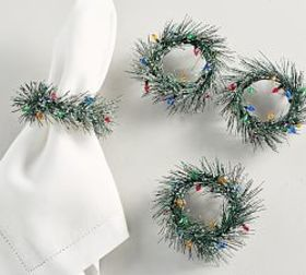 Wreath with Lights Napkin Ring, Set of 4