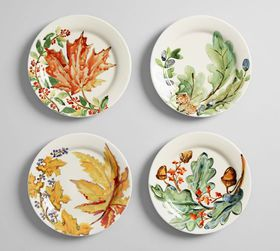 Watercolor Leaves Salad Plate, Set of 4