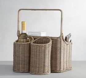Willow Woven Picnic Caddy Gray