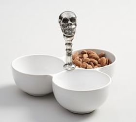 Metal Skull & Ceramic Condiment Serve