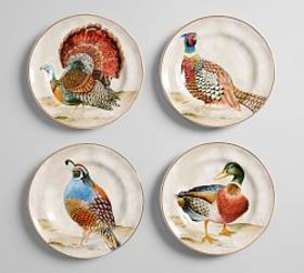 Botanical Harvest Bird Tidbit Plate, Set of 4 - Mi