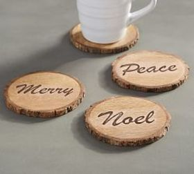 Bark Edge Sentiment Coasters, Set of 4