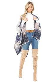 Multicolor Brushed Knit Poncho