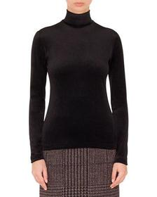 Akris punto Turtleneck Long-Sleeve Back-Zip Knit S