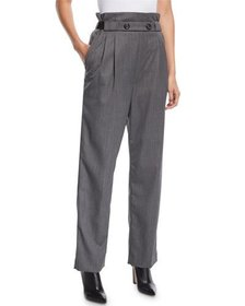 Helmut Lang Pleated Gabardine Wool Pull-On Pants