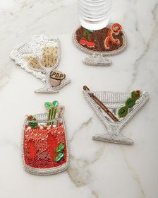 Kim Seybert Happy Hour Beaded Cocktail Coasters, 4