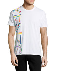 Kenzo Men's Vertical Rainbow Logo Short-Sleeve Cre