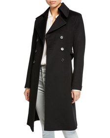 Fleurette Double-Breasted Back-Belt Wool Coat
