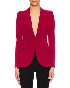 Alexander McQueen Peak-Lapel One-Button Leaf Crepe