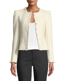 Club Monaco Milah Textured Puff-Shoulder Cropped J