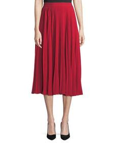 Co Chrstal A-Line Pleated Crepe Midi Skirt