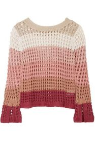 SEE BY CHLOÉ Color-block open-knit cotton-blend sw