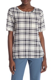 Theory Plaid Button Side Top