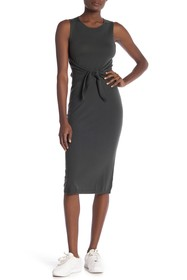 Theory Riderlyn Tie Front Wool Blend Midi Dress