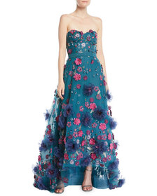 Marchesa Notte Strapless Ball Gown w/ 3D Petals