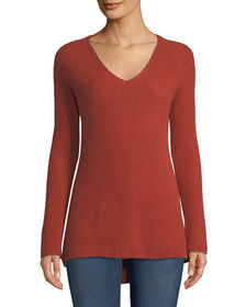 Neiman Marcus Cashmere Collection Shaker-Stitched