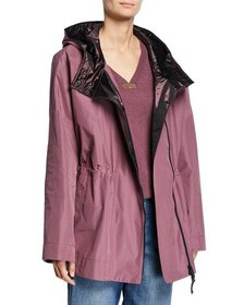 Brunello Cucinelli Taffeta Satin-Hooded Cinched-Wa