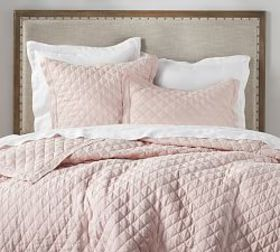 Belgian Flax Linen Diamond Quilt - Soft Rose