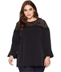 MICHAEL Michael Kors Plus Size 3/4 Sleeve Lace Yok