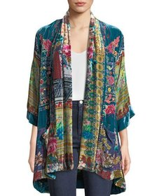 Johnny Was Biza Printed Velvet Kimono Jacket, Plus
