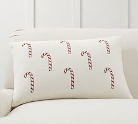 Candy Cane Embroidered Pillow Cover