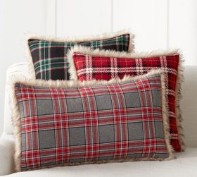 Nottingham Plaid w/ Faux Fur Back Pillow Cover