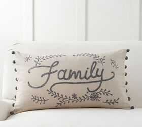 Family Embroidered Lumbar Pillow Cover