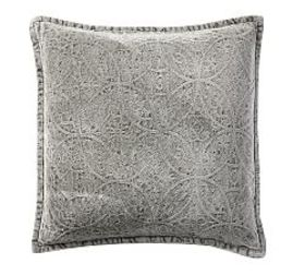Chenille Jacquard Pillow Cover - Charcoal