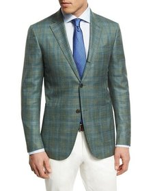 Ermenegildo Zegna Plaid Three-Button Sport Coat, L
