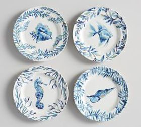 Bermuda Melamine Salad Plate Mixed, Set of 4