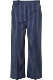 VERSACE Cropped pinstriped wool-twill straight-leg