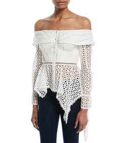 Self-Portrait Asymmetric Broderie Anglaise Top