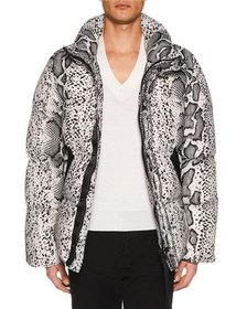 TOM FORD Men's Snakeskin-Print Puffer Jacket