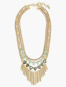 Set Stone Chain Statement Necklace