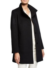 Fleurette Cashmere-Wool One-Button Car Coat