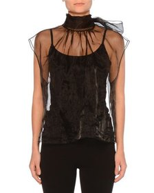 Prada Cap-Sleeve High-Neck Tulle Top