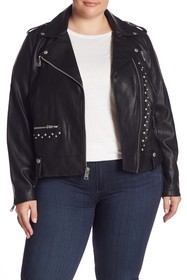 Levi's Stud Trim Faux Leather Jacket (Plus Size)