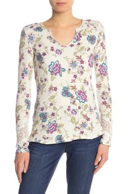Seven7 Long Sleeve Floral Print Top